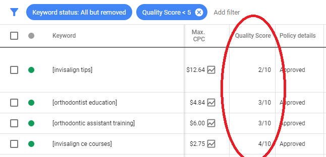 Example of a bad quality score