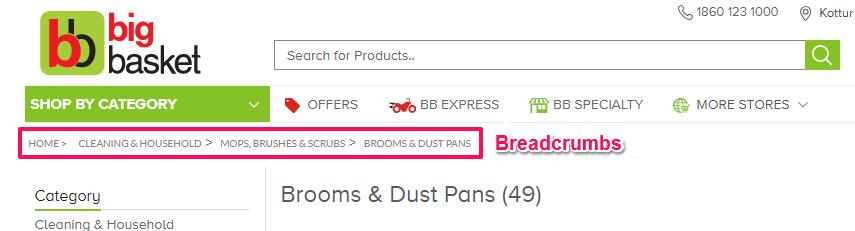E-commerce SEO tips- Breadcrumbs example