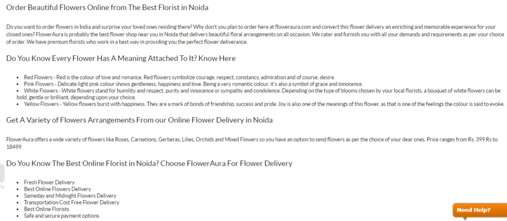 Promotional content on flower delivery website