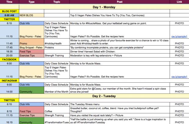 Keep a Content Calendar
